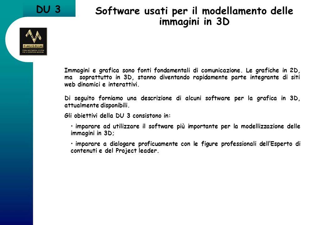 DU 3 Software usati per il modellamento delle immagini in 3D Immagini e grafica sono fonti fondamentali di comunicazione. Le grafiche in 2D, ma soprat