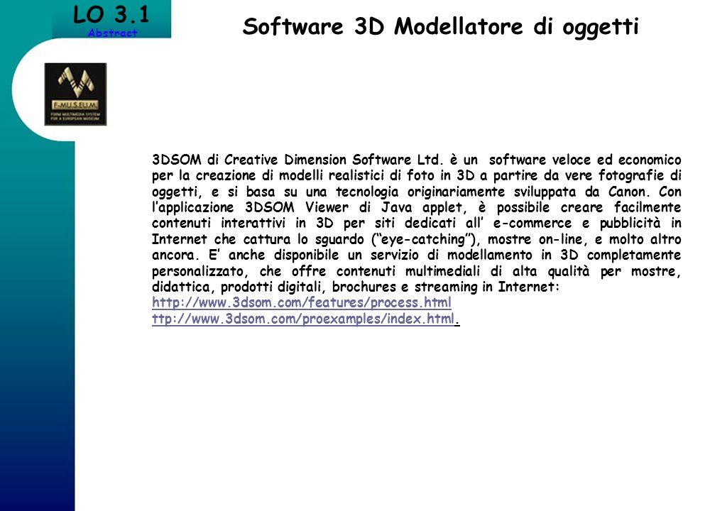 LO 3.1 Abstract Software 3D Modellatore di oggetti 3DSOM di Creative Dimension Software Ltd. è un software veloce ed economico per la creazione di mod