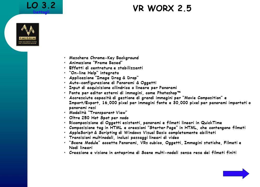 LO 3.2 Dettagli Maschera Chroma-Key Background Animazione Frame Based Effetti di centratura e stabilizzanti On-line Help integrato Applicazione Image
