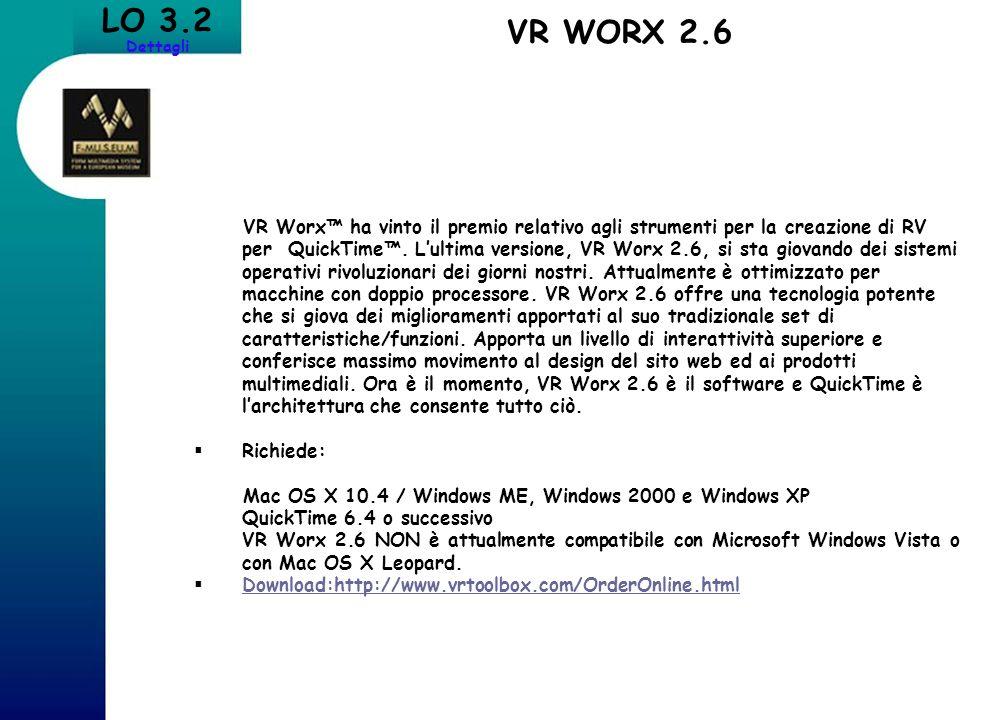 LO 3.2 Dettagli VR WORX 2.6 VR Worx ha vinto il premio relativo agli strumenti per la creazione di RV per QuickTime. Lultima versione, VR Worx 2.6, si
