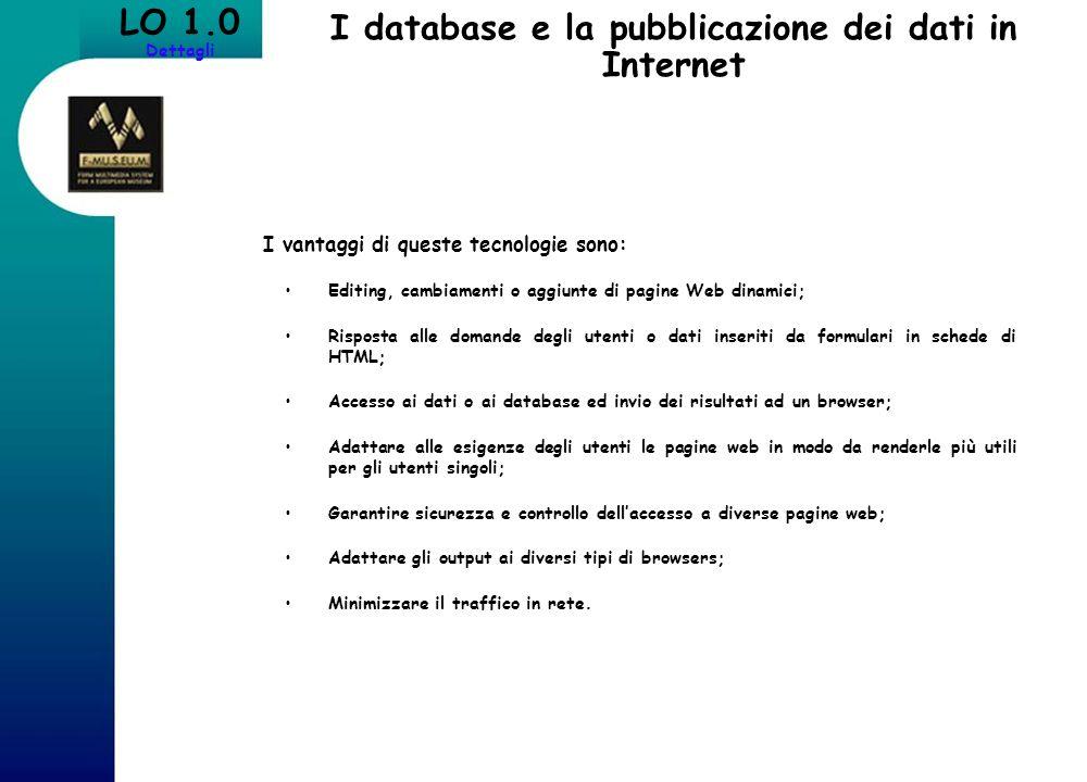I database e la pubblicazione dei dati in Internet LO 1.0 Dettagli I vantaggi di queste tecnologie sono: Editing, cambiamenti o aggiunte di pagine Web