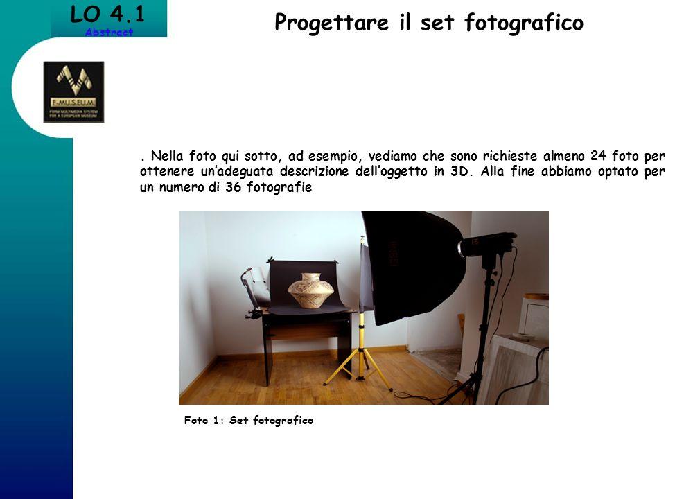 LO 4.1 Abstract Progettare il set fotografico. Nella foto qui sotto, ad esempio, vediamo che sono richieste almeno 24 foto per ottenere unadeguata des