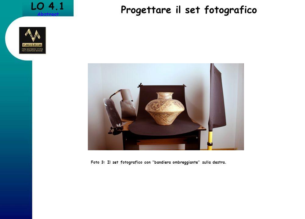LO 4.1 Abstract Progettare il set fotografico Foto 3: Il set fotografico con bandiera ombreggiante sulla destra.