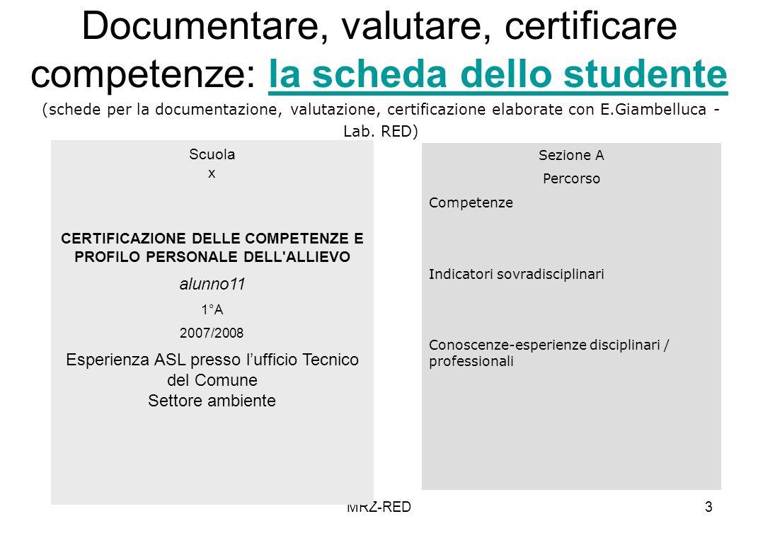 MRZ-RED3 Documentare, valutare, certificare competenze: la scheda dello studentela scheda dello studente Scuola x CERTIFICAZIONE DELLE COMPETENZE E PROFILO PERSONALE DELL ALLIEVO alunno11 1°A 2007/2008 Esperienza ASL presso lufficio Tecnico del Comune Settore ambiente Sezione A Percorso Competenze Indicatori sovradisciplinari Conoscenze-esperienze disciplinari / professionali (schede per la documentazione, valutazione, certificazione elaborate con E.Giambelluca - Lab.