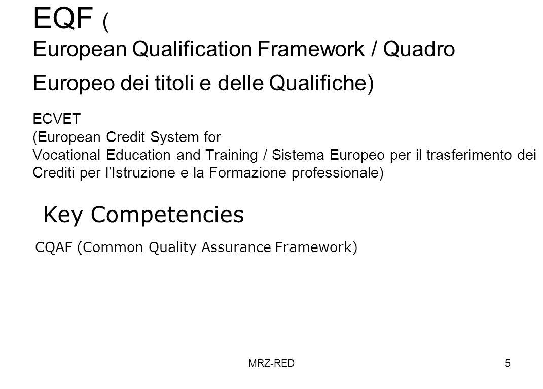 MRZ-RED5 EQF ( European Qualification Framework / Quadro Europeo dei titoli e delle Qualifiche) ECVET (European Credit System for Vocational Education and Training / Sistema Europeo per il trasferimento dei Crediti per lIstruzione e la Formazione professionale) Key Competencies CQAF (Common Quality Assurance Framework)