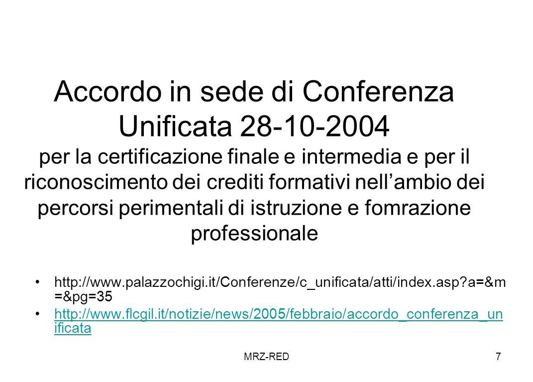 MRZ-RED7 Accordo in sede di Conferenza Unificata 28-10-2004 per la certificazione finale e intermedia e per il riconoscimento dei crediti formativi nellambio dei percorsi perimentali di istruzione e fomrazione professionale http://www.palazzochigi.it/Conferenze/c_unificata/atti/index.asp a=&m =&pg=35 http://www.flcgil.it/notizie/news/2005/febbraio/accordo_conferenza_un ificatahttp://www.flcgil.it/notizie/news/2005/febbraio/accordo_conferenza_un ificata