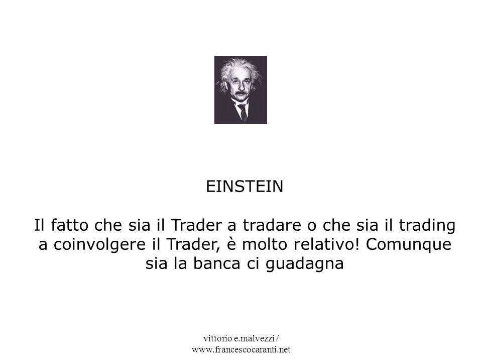 vittorio e.malvezzi / www.francescocaranti.net EINSTEIN Il fatto che sia il Trader a tradare o che sia il trading a coinvolgere il Trader, è molto rel
