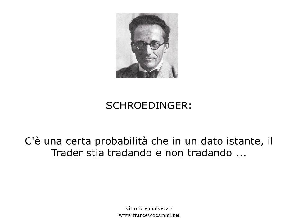 vittorio e.malvezzi / www.francescocaranti.net SCHROEDINGER: C'è una certa probabilità che in un dato istante, il Trader stia tradando e non tradando.