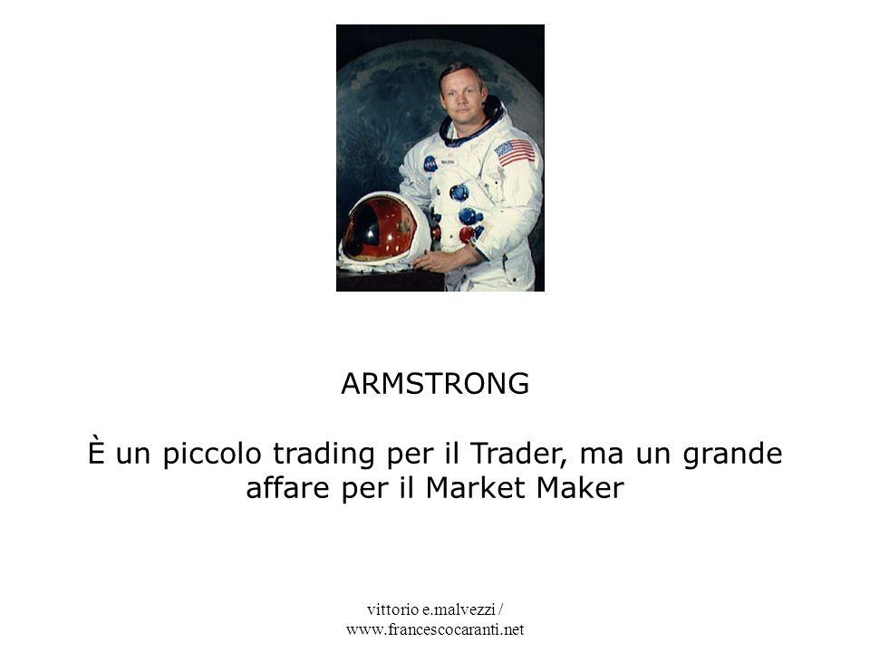 vittorio e.malvezzi / www.francescocaranti.net ARMSTRONG È un piccolo trading per il Trader, ma un grande affare per il Market Maker