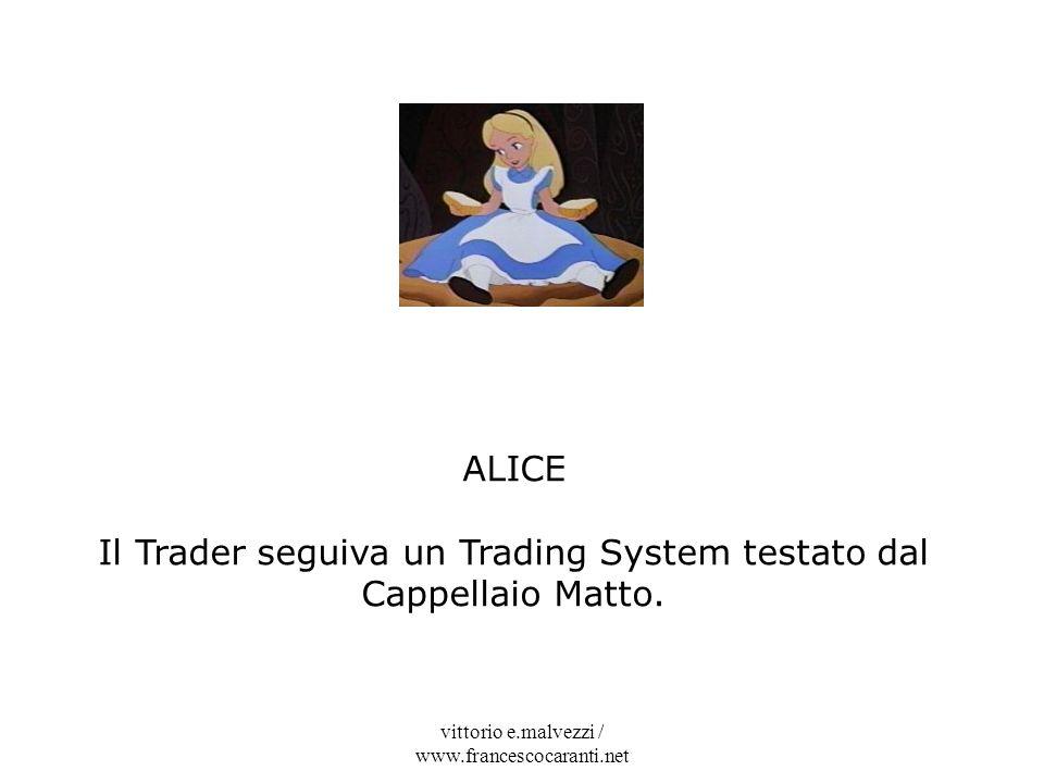 vittorio e.malvezzi / www.francescocaranti.net ALICE Il Trader seguiva un Trading System testato dal Cappellaio Matto.
