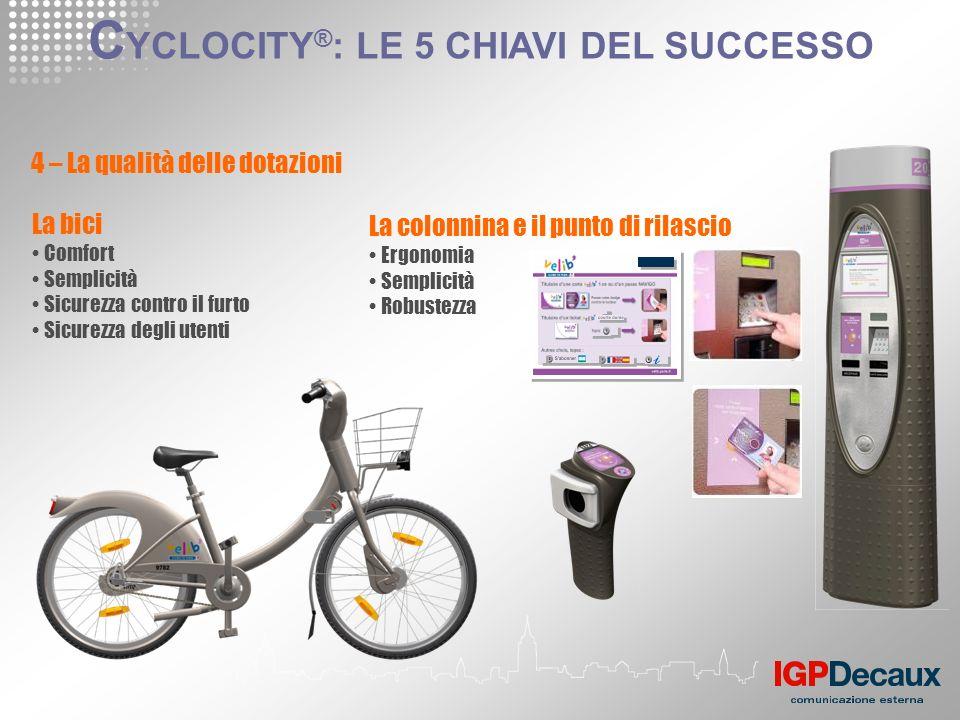 4 – La qualità delle dotazioni La bici Comfort Semplicità Sicurezza contro il furto Sicurezza degli utenti La colonnina e il punto di rilascio Ergonom
