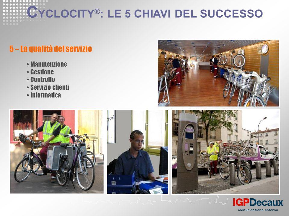 5 – La qualità del servizio Manutenzione Gestione Controllo Servizio clienti Informatica C YCLOCITY ® : LE 5 CHIAVI DEL SUCCESSO