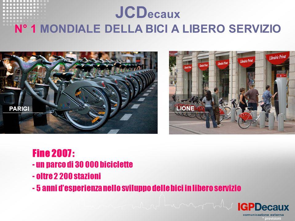 * previsioni JCD ecaux N° 1 MONDIALE DELLA BICI A LIBERO SERVIZIO - un parco di 30 000 biciclette - oltre 2 200 stazioni - 5 anni desperienza nello sviluppo delle bici in libero servizio Fine 2007 : PARIGI LIONE