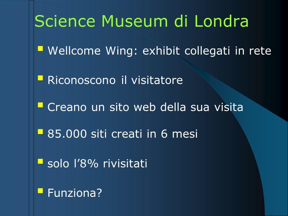 Science Museum di Londra Wellcome Wing: exhibit collegati in rete Riconoscono il visitatore Creano un sito web della sua visita 85.000 siti creati in