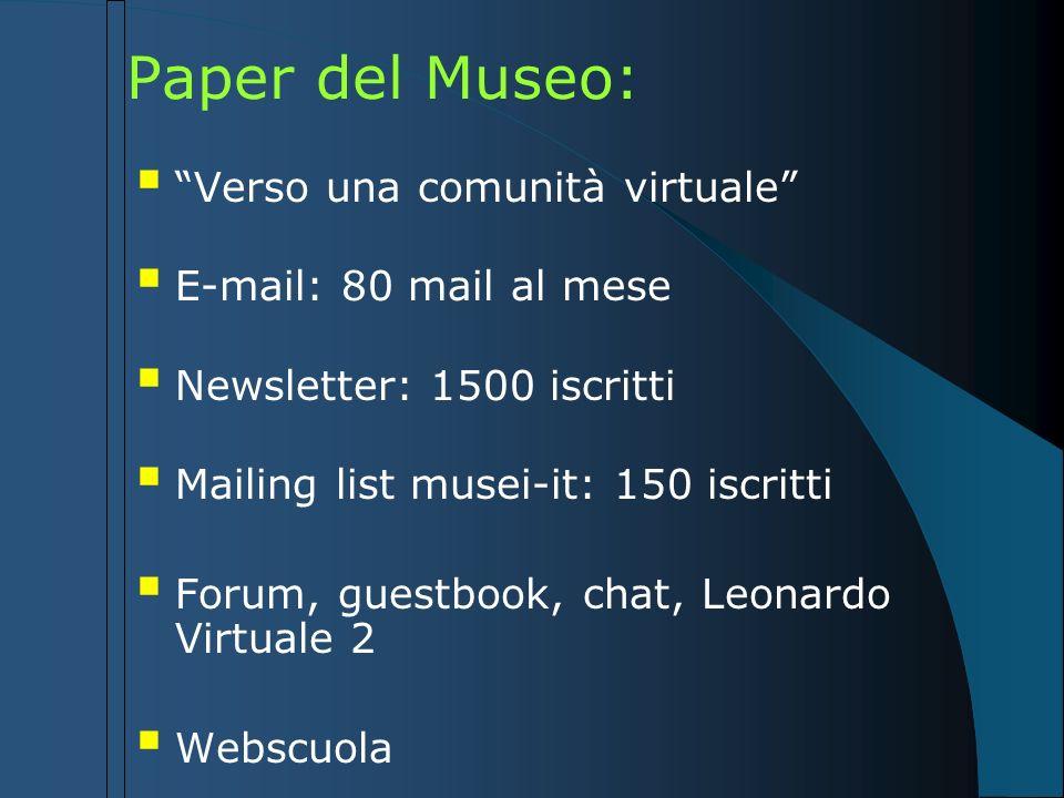 Paper del Museo: Verso una comunità virtuale E-mail: 80 mail al mese Newsletter: 1500 iscritti Mailing list musei-it: 150 iscritti Forum, guestbook, c