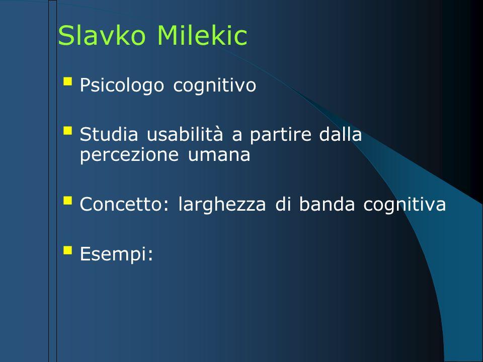 Slavko Milekic Psicologo cognitivo Studia usabilità a partire dalla percezione umana Concetto: larghezza di banda cognitiva Esempi: