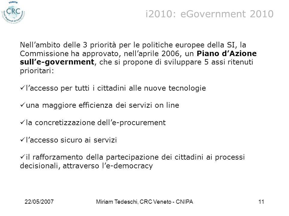 22/05/2007Miriam Tedeschi, CRC Veneto - CNIPA11 i2010: eGovernment 2010 Nellambito delle 3 priorità per le politiche europee della SI, la Commissione