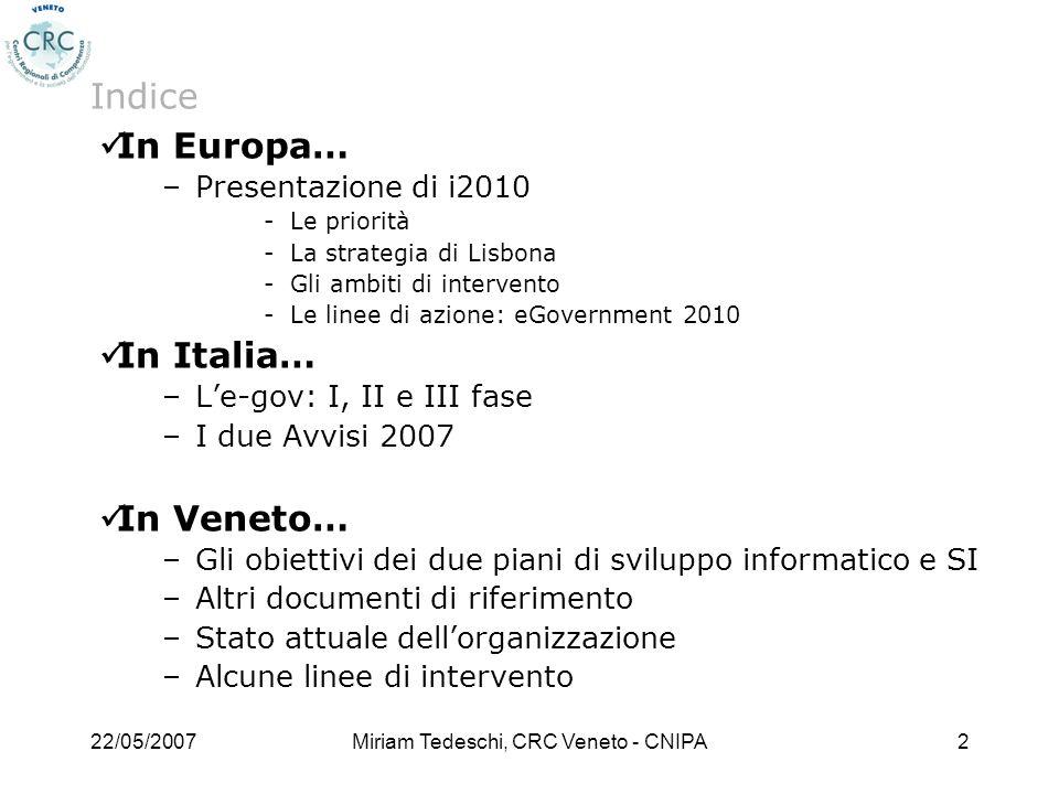 22/05/2007Miriam Tedeschi, CRC Veneto - CNIPA2 Indice In Europa… –Presentazione di i2010 Le priorità La strategia di Lisbona Gli ambiti di interven