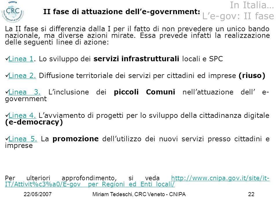22/05/2007Miriam Tedeschi, CRC Veneto - CNIPA22 II fase di attuazione delle-government: La II fase si differenzia dalla I per il fatto di non prevedere un unico bando nazionale, ma diverse azioni mirate.