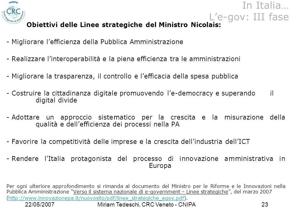 22/05/2007Miriam Tedeschi, CRC Veneto - CNIPA23 Obiettivi delle Linee strategiche del Ministro Nicolais: - Migliorare lefficienza della Pubblica Ammin