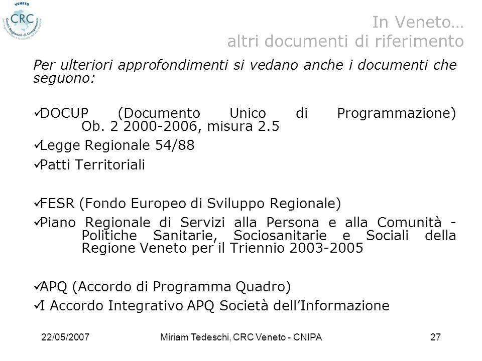 22/05/2007Miriam Tedeschi, CRC Veneto - CNIPA27 Per ulteriori approfondimenti si vedano anche i documenti che seguono: DOCUP (Documento Unico di Programmazione) Ob.
