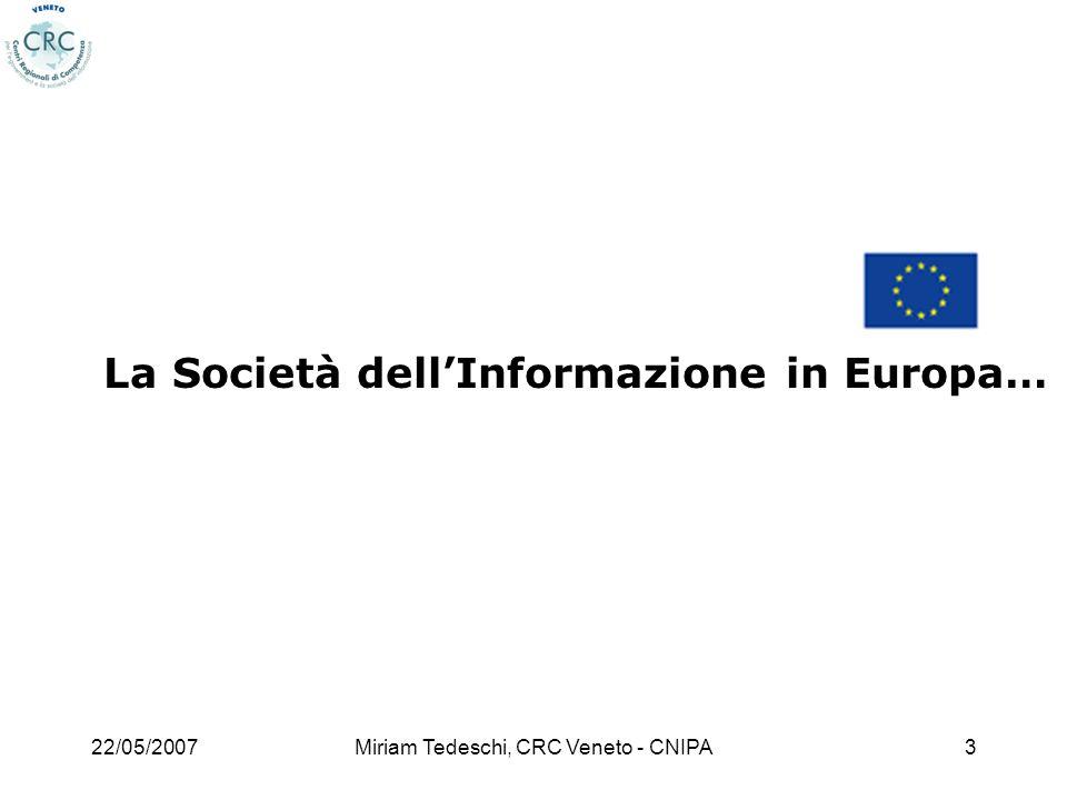 22/05/2007Miriam Tedeschi, CRC Veneto - CNIPA14 i2010: economia e lavoro