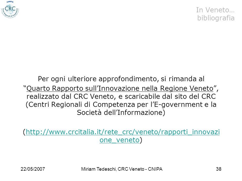 22/05/2007Miriam Tedeschi, CRC Veneto - CNIPA38 Per ogni ulteriore approfondimento, si rimanda al Quarto Rapporto sullInnovazione nella Regione Veneto, realizzato dal CRC Veneto, e scaricabile dal sito del CRC (Centri Regionali di Competenza per lE-government e la Società dellInformazione) (http://www.crcitalia.it/rete_crc/veneto/rapporti_innovazi one_veneto)http://www.crcitalia.it/rete_crc/veneto/rapporti_innovazi one_veneto In Veneto… bibliografia