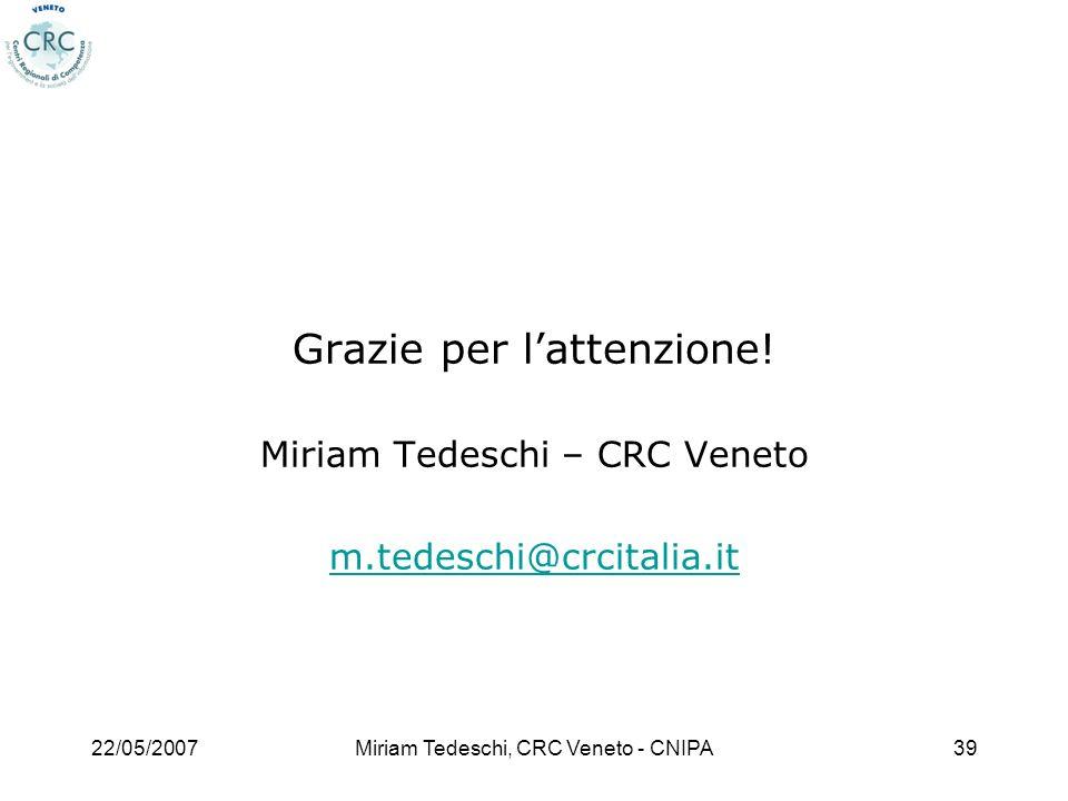 22/05/2007Miriam Tedeschi, CRC Veneto - CNIPA39 Grazie per lattenzione! Miriam Tedeschi – CRC Veneto m.tedeschi@crcitalia.it
