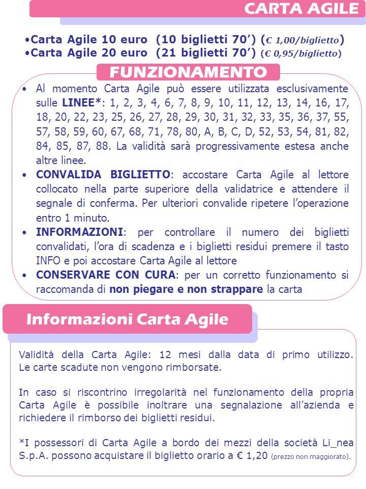 FUNZIONAMENTO CARTA AGILE Carta Agile 10 euro (10 biglietti 70) ( 1,00/biglietto ) Carta Agile 20 euro (21 biglietti 70) ( 0,95/biglietto) Al momento