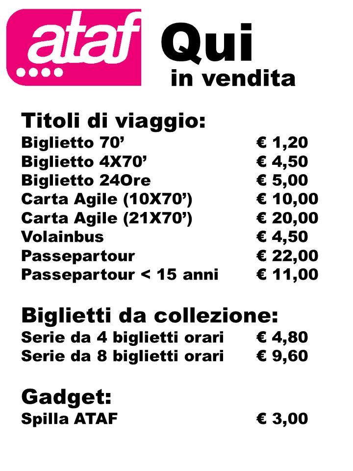 in vendita Qui Titoli di viaggio: Biglietto 70 1,20 Biglietto 4X70 4,50 Biglietto 24Ore 5,00 Carta Agile (10X70) 10,00 Carta Agile (21X70) 20,00 Volai