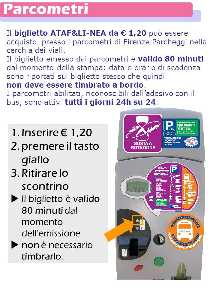 Il biglietto ATAF&LI-NEA da 1,20 può essere acquisto presso i parcometri di Firenze Parcheggi nella cerchia dei viali. Il biglietto emesso dai parcome