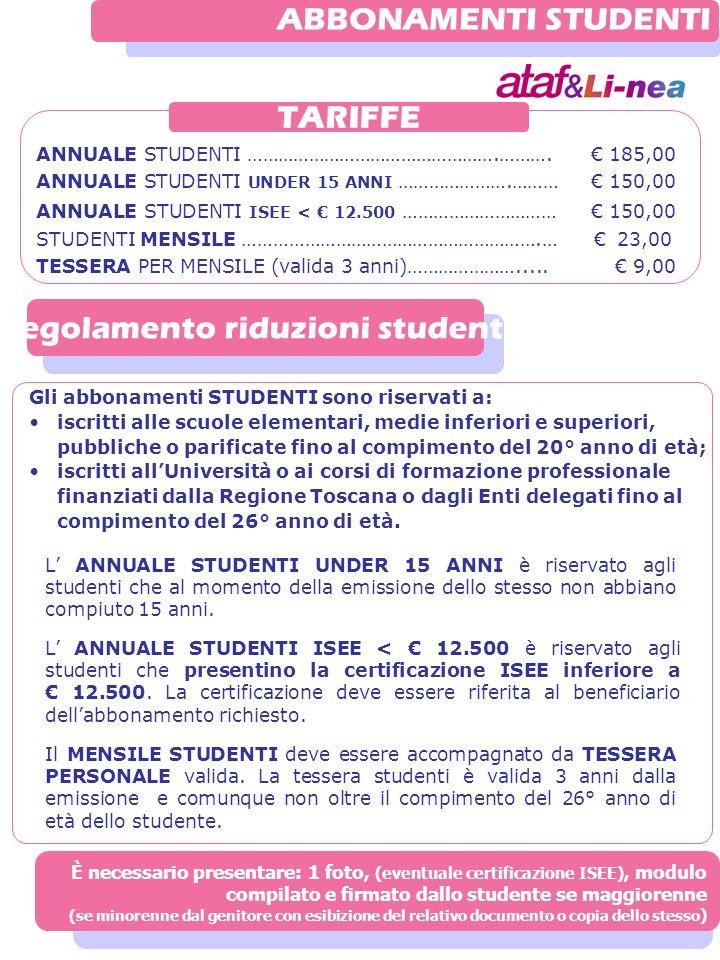 ANNUALE STUDENTI ………………………………………….………. 185,00 ANNUALE STUDENTI UNDER 15 ANNI ………………….……… 150,00 ANNUALE STUDENTI ISEE < 12.500 ………………………… 150,00 STUDE