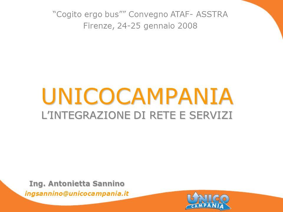 UNICOCAMPANIA LINTEGRAZIONE DI RETE E SERVIZI Ing. Antonietta Sannino ingsannino@unicocampania.it Cogito ergo bus Convegno ATAF- ASSTRA Firenze, 24-25