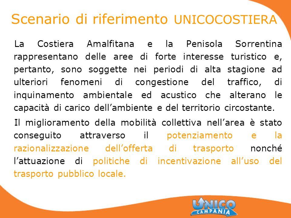 Scenario di riferimento UNICOCOSTIERA La Costiera Amalfitana e la Penisola Sorrentina rappresentano delle aree di forte interesse turistico e, pertant