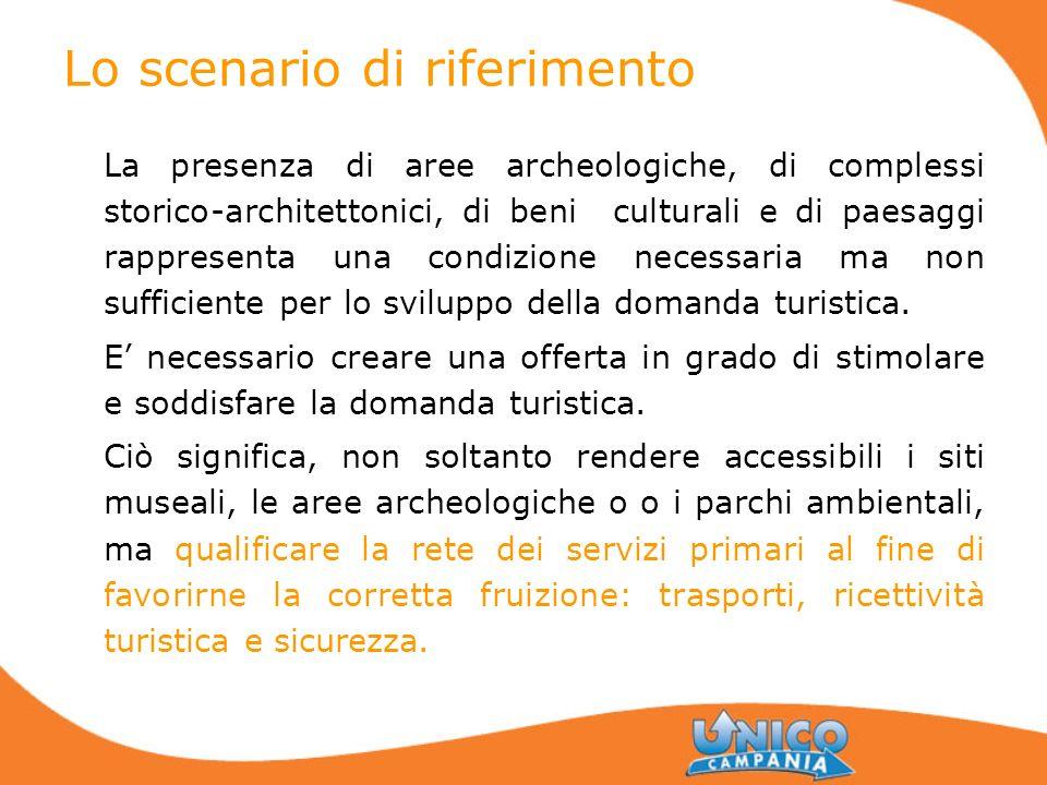 Lo scenario di riferimento La presenza di aree archeologiche, di complessi storico-architettonici, di beni culturali e di paesaggi rappresenta una con