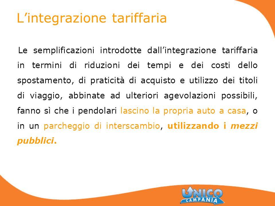 Lintegrazione tariffaria Le semplificazioni introdotte dallintegrazione tariffaria in termini di riduzioni dei tempi e dei costi dello spostamento, di