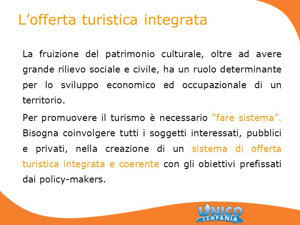Lofferta turistica integrata La fruizione del patrimonio culturale, oltre ad avere grande rilievo sociale e civile, ha un ruolo determinante per lo sv