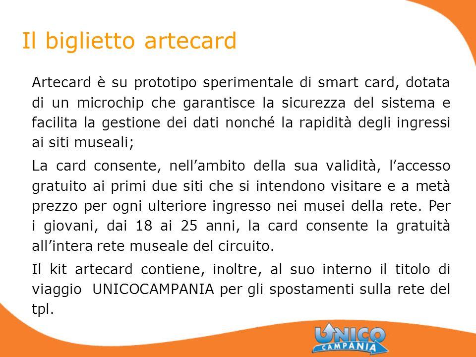 Il biglietto artecard Artecard è su prototipo sperimentale di smart card, dotata di un microchip che garantisce la sicurezza del sistema e facilita la