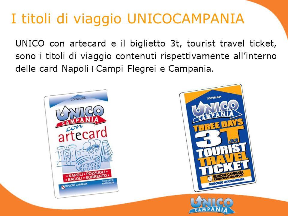 I titoli di viaggio UNICOCAMPANIA UNICO con artecard e il biglietto 3t, tourist travel ticket, sono i titoli di viaggio contenuti rispettivamente alli