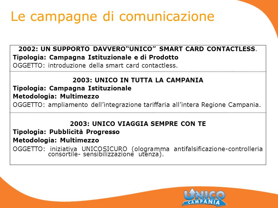2002: UN SUPPORTO DAVVEROUNICO SMART CARD CONTACTLESS. Tipologia: Campagna Istituzionale e di Prodotto OGGETTO: introduzione della smart card contactl