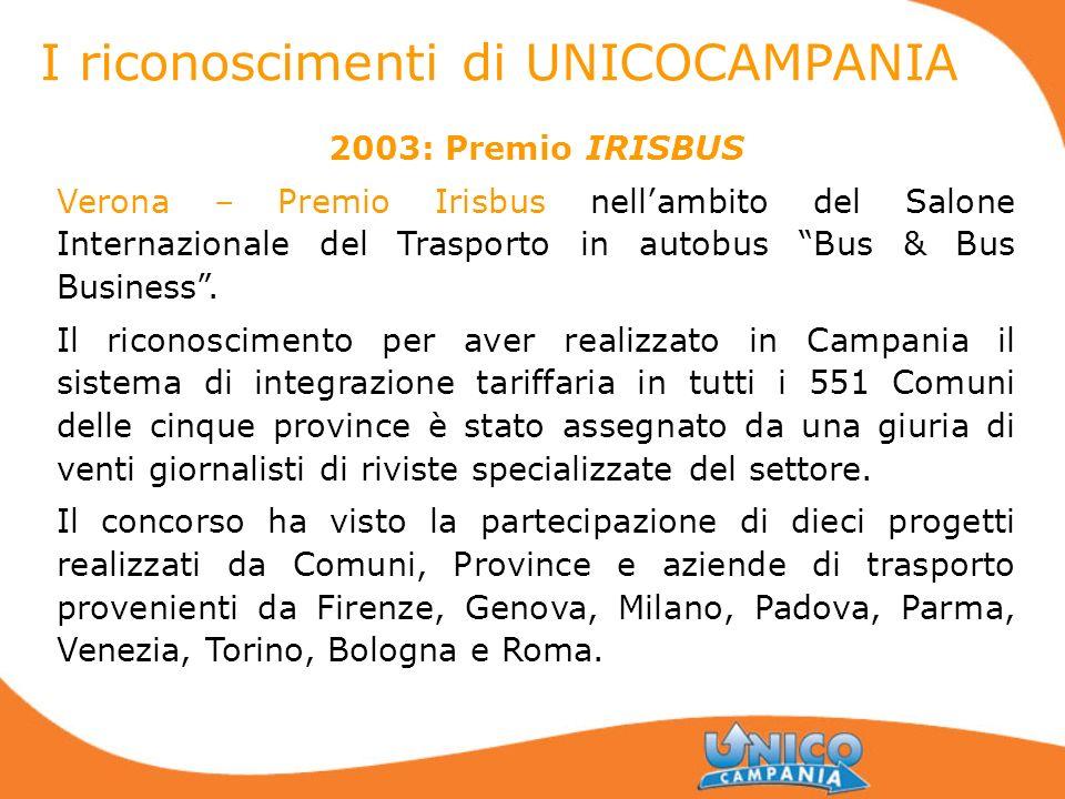 2003: Premio IRISBUS Verona – Premio Irisbus nellambito del Salone Internazionale del Trasporto in autobus Bus & Bus Business. Il riconoscimento per a