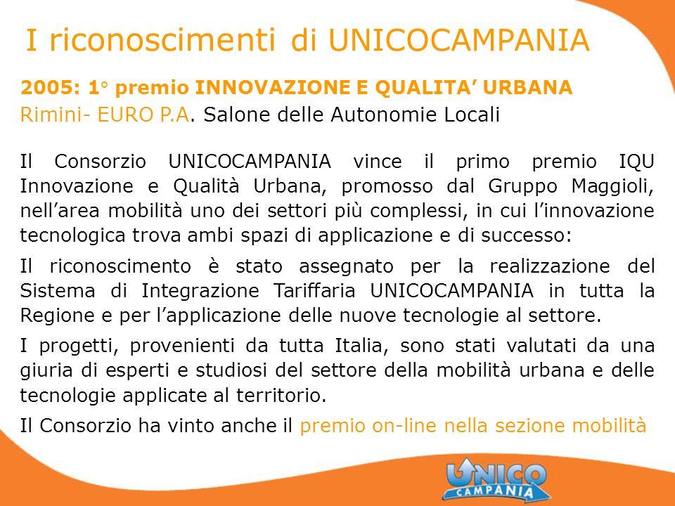 2005: 1° premio INNOVAZIONE E QUALITA URBANA Rimini- EURO P.A. Salone delle Autonomie Locali Il Consorzio UNICOCAMPANIA vince il primo premio IQU Inno