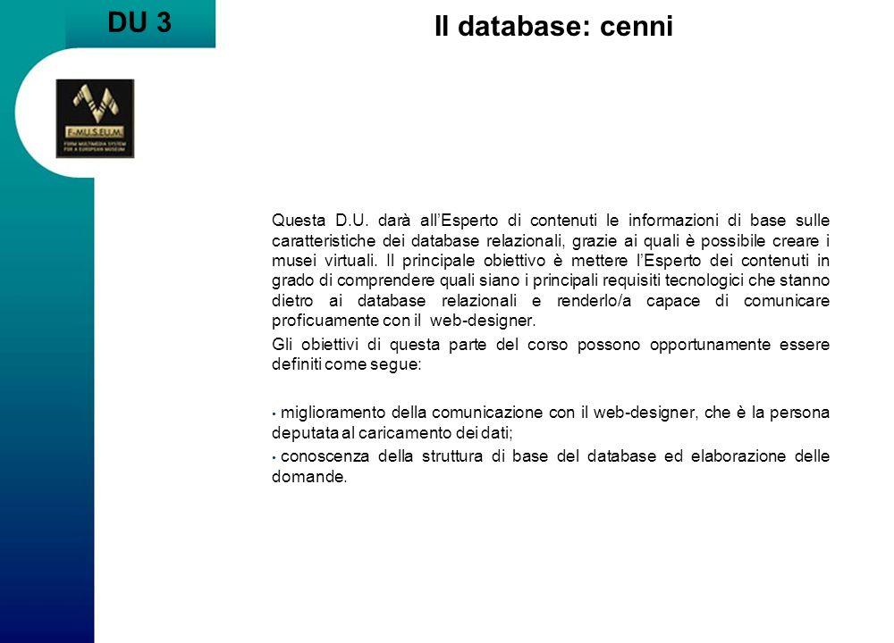DU 3 Il database: cenni Questa D.U.
