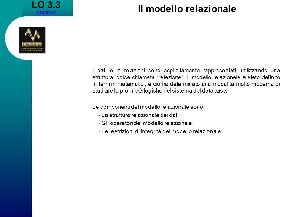 LO 3.3 Abstract Il modello relazionale I dati e le relazioni sono esplicitamente rappresentati, utilizzando una struttura logica chiamata relazione.