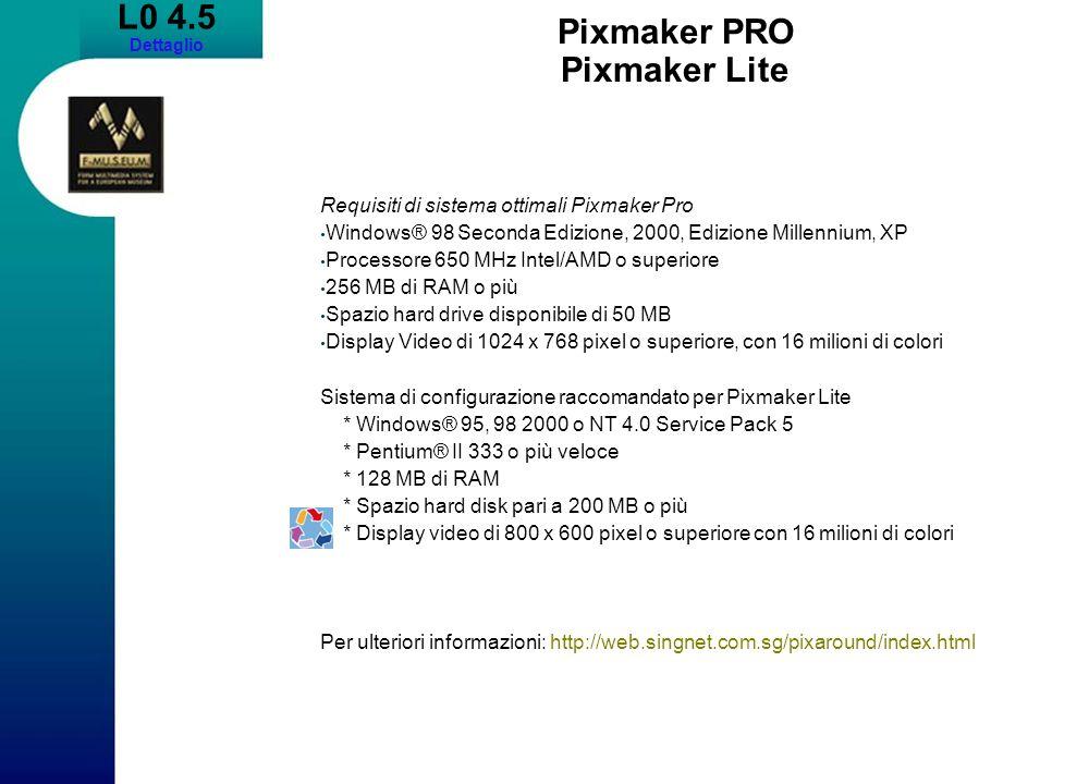 L0 4.5 Dettaglio Pixmaker PRO Pixmaker Lite Requisiti di sistema ottimali Pixmaker Pro Windows® 98 Seconda Edizione, 2000, Edizione Millennium, XP Processore 650 MHz Intel/AMD o superiore 256 MB di RAM o più Spazio hard drive disponibile di 50 MB Display Video di 1024 x 768 pixel o superiore, con 16 milioni di colori Sistema di configurazione raccomandato per Pixmaker Lite * Windows® 95, 98 2000 o NT 4.0 Service Pack 5 * Pentium® II 333 o più veloce * 128 MB di RAM * Spazio hard disk pari a 200 MB o più * Display video di 800 x 600 pixel o superiore con 16 milioni di colori Per ulteriori informazioni: http://web.singnet.com.sg/pixaround/index.html