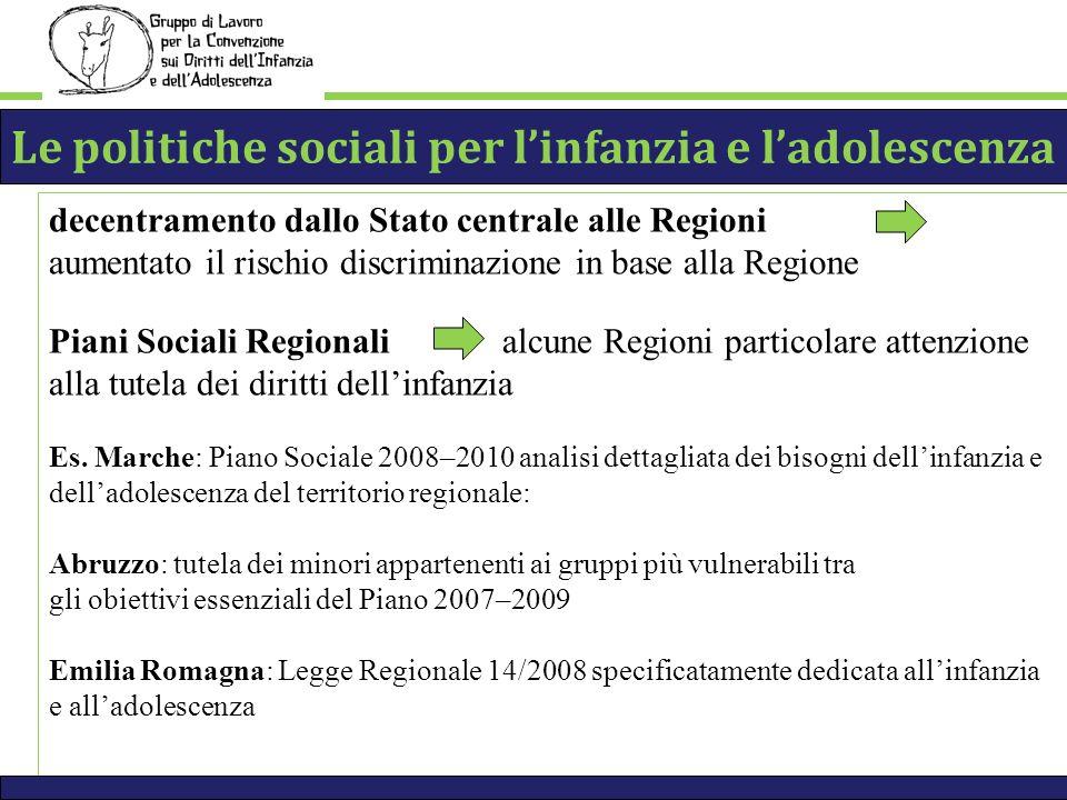 decentramento dallo Stato centrale alle Regioni aumentato il rischio discriminazione in base alla Regione Piani Sociali Regionali alcune Regioni particolare attenzione alla tutela dei diritti dellinfanzia Es.