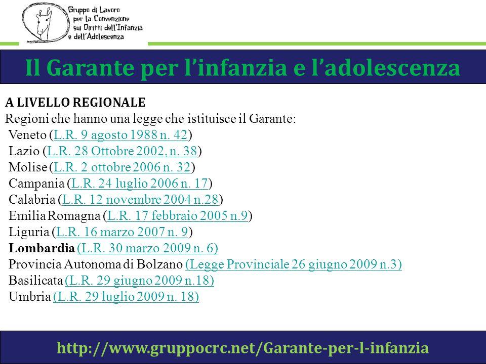 Il Garante per linfanzia e ladolescenza http://www.gruppocrc.net/Garante-per-l-infanzia A LIVELLO REGIONALE Regioni che hanno una legge che istituisce il Garante: Veneto (L.R.