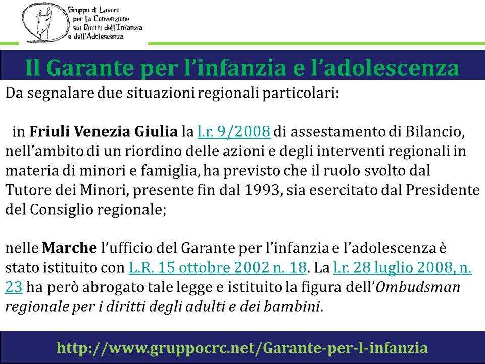 Il Garante per linfanzia e ladolescenza http://www.gruppocrc.net/Garante-per-l-infanzia Da segnalare due situazioni regionali particolari: in Friuli Venezia Giulia la l.r.