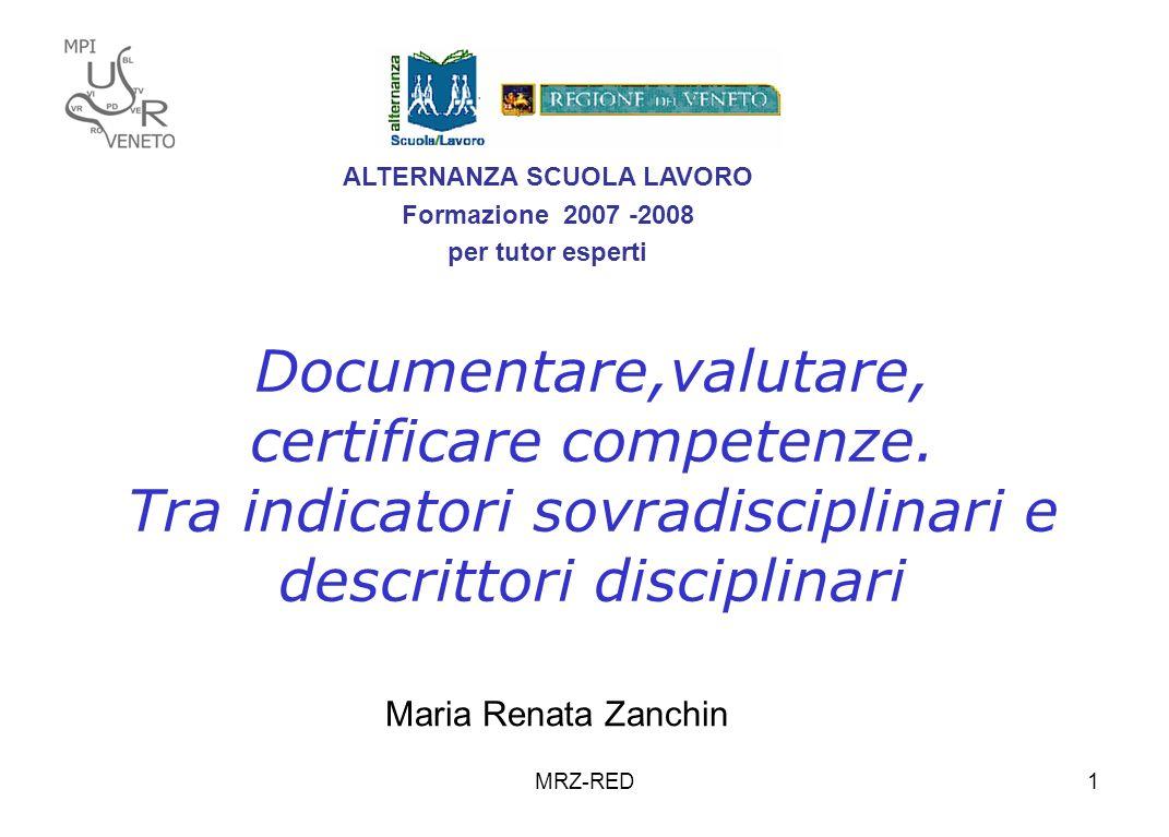 MRZ-RED1 Documentare,valutare, certificare competenze. Tra indicatori sovradisciplinari e descrittori disciplinari Maria Renata Zanchin ALTERNANZA SCU