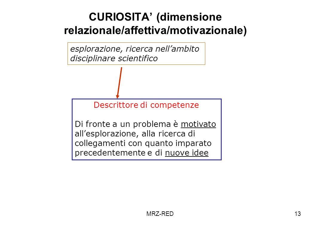 MRZ-RED13 CURIOSITA (dimensione relazionale/affettiva/motivazionale) Descrittore di competenze Di fronte a un problema è motivato allesplorazione, all